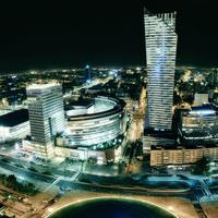 Panorama of Warsaw lighted up at night