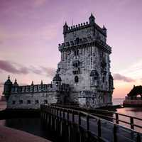 Tower at Dusk in Lisbon, Portugal