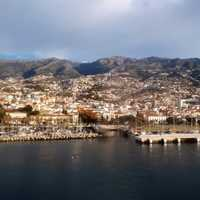 Funchal, Madeira Island, Portugal city and mountains
