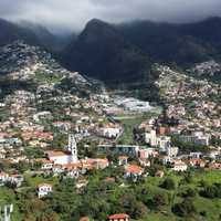 Mountain landscape and cityscape in Madeira, Portugal