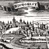 Early 18th century wood cutout of Bucharest, Romania