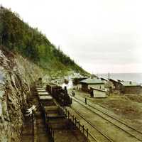 Steam locomotive on the circum-Baikal railroad in Russia