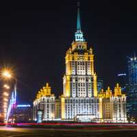 Hotel of Moscow at Night in Russia