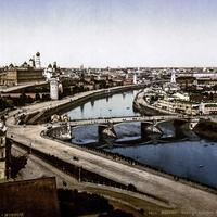 Moskva riverside in the 19th century in Moscow, Russia