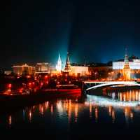 Night City View in Moscow, Russia