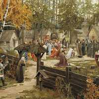 Sergius of Radonezh blessing Dmitry Donskoy in Russia