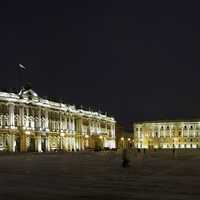 Palace Square and Winter Palace in Saint Petersburg, Russia