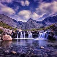 Beautiful Waterfalls Landscape in Skye, Scotland