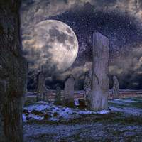 Large Moon in Celtic place of worship