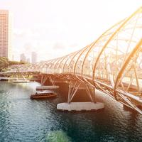 Bridge architecture in Singapore under the sunlight