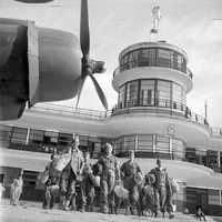 Kallang Airport control tower with the return of British POWs in Singapore