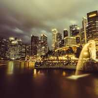 Singapore skyline and fountain at night
