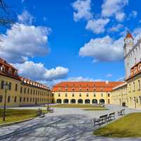 Courtyard and buildings and benches in Bratislava, Slovakia