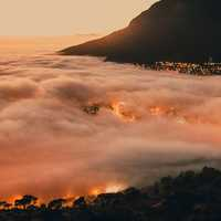 City Shrouded by Clouds in Cape Town, South Africa