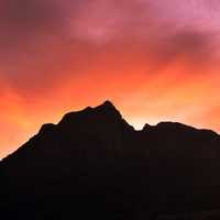 Dusk and sky behind the mountains in Cape Town, South Africa