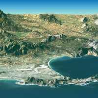 Elevation Map of Cape Town, South Africa