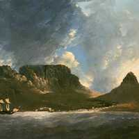 Table Mountain from Capt. Cook's ship HMS Resolution in 1772