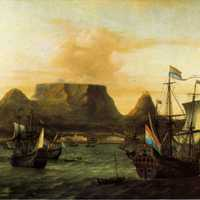 View of Table Bay with ship in Cape Town, South Africa
