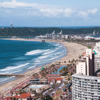 Seashore and landscape with buildings and beach in Durban, South Africa