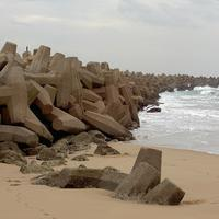 The Dolosse wall in Durban, South Africa