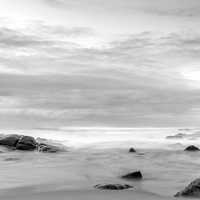 Black and White Shoreline landscape of South Africa