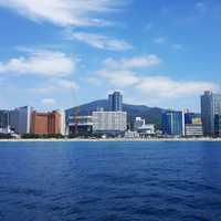 Skyline of Busan across the water in South Korea