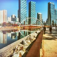 Incheon cityscape and walkway with bridge in South Korea