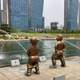 Kids Peeing into the river statue in Incheon, South Korea