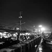 Night scenery at the docks in Incheon, South Korea