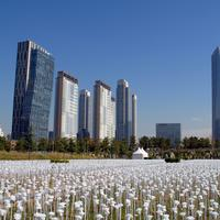 Skyline of Incheon and landscape from Songdo Central park, South Korea