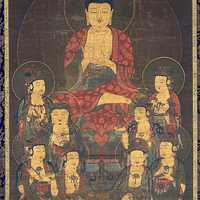 Amitabha and Eight Great Bodhisattvas, Scroll from the 1300s