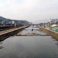 Landscape around the Jeongeupcheon  Stream in Jeongeup, South Korea