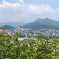 Namwon Landscape and Cityscape with Mountains in South Korea