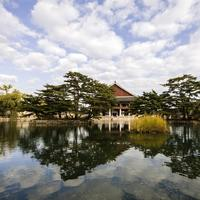 Palace and lake landscape in Seoul, South Korea