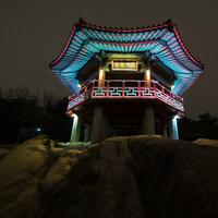 Temple in Seoul, South Korea at night