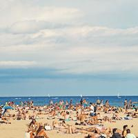 Beach in Barcelona, Spain under the clouds