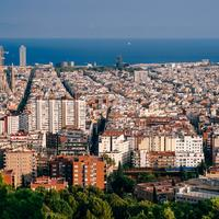 Cityscape view with ocean and buildings in Barcelona