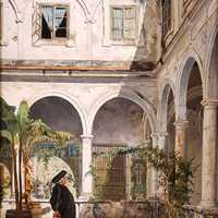 Patio of the Convent of San Francisco in 1881 in Cadiz, Spain
