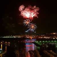 Blanes' fireworks in Spain at night
