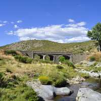 Bridge and stream and landscape in Spain