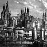 Burgos centre around 1850 in Spain
