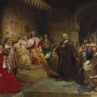 Columbus meets monarchs of spain