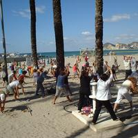 Early morning exercise in Benidorm, Spain