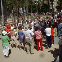 Late morning community singing in Benidorm, Spain