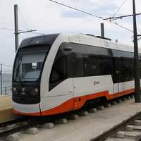 Line L1 Alicante Tram near Sangueta stop in Spain