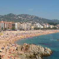 Lloret de Mar's main beach in Spain