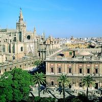 View over the Cathedral and Archivo de Indias in Seville, Spain