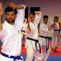 Karate Class Practicing Stances