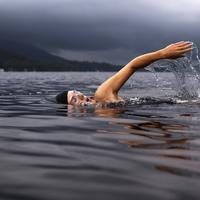Swimmer in lake