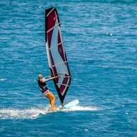 Windsurfing on the sea